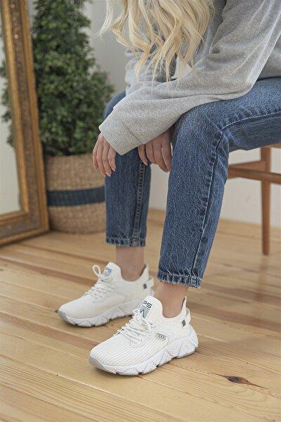 Dalia Kadın Streç Triko Spor Ayakkabı Beyaz