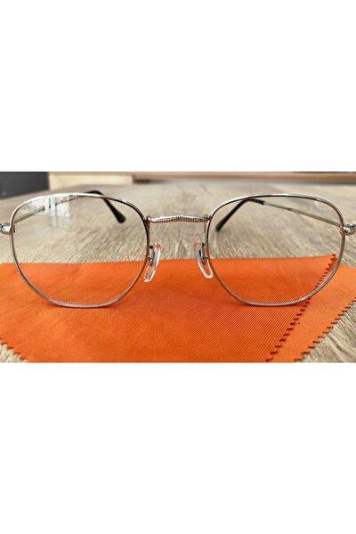Gümüş Renk Çerçeve Üst Yuvarlak Alt Köşeli Anti Blu-ray Mavi Işık Koruyucu Gözlük
