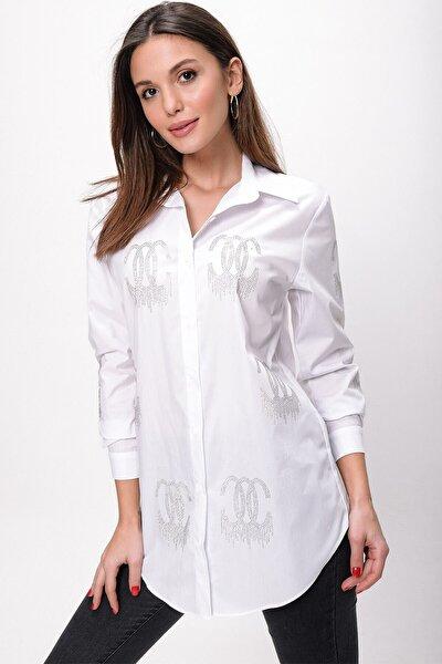 Kadın Beyaz Boncuk İşlemeli Koton Gömlek