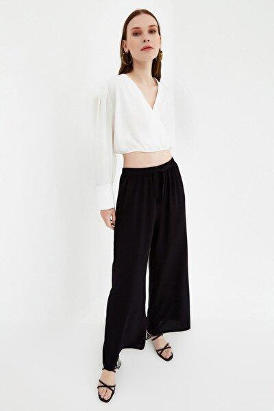 Kadın Beli Lastikli Bol Paça Dokuma Pantolon P21s169-1005