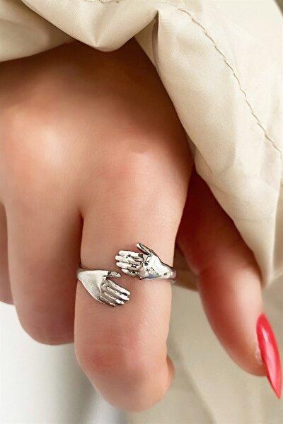 Kadın Gümüş El Figürlü Ayarlanabilir Yüzük