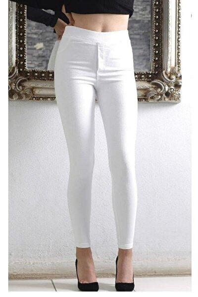 Kadın Beyaz Yüksel Bel Lastikli Likralı Kot Pantolon