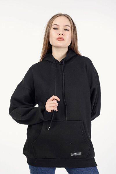 Kadın Siyah Kapşonlu Oversize Sweatshirt