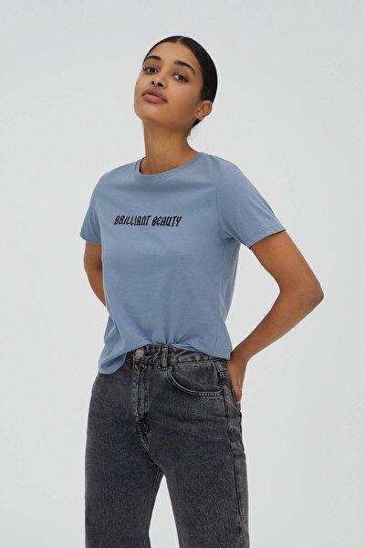 Kadın Mavi Gri Sloganlı Kısa Kollu T-Shirt 09244325