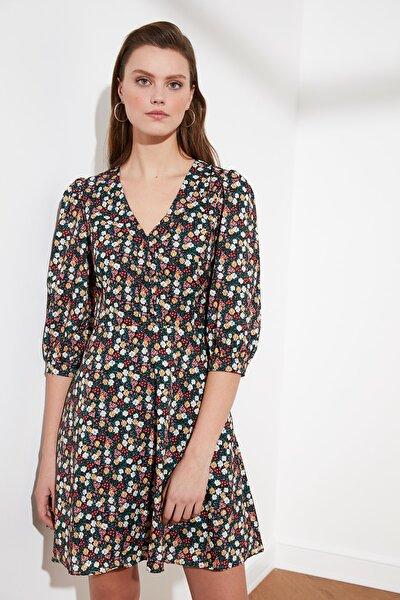 Çok Renkli Volanlı Elbise TWOSS21EL0702