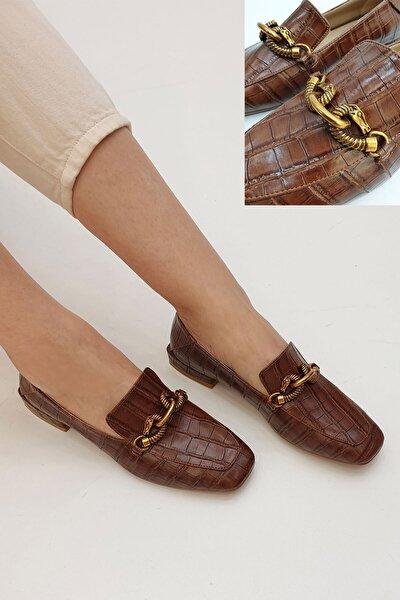 Kadın Kahve Croco Loafer Ayakkabı Alva