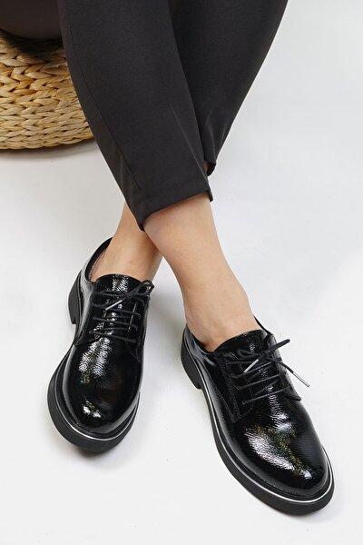 Kadın Siyah Rugan Oxford Ayakkabı Terva