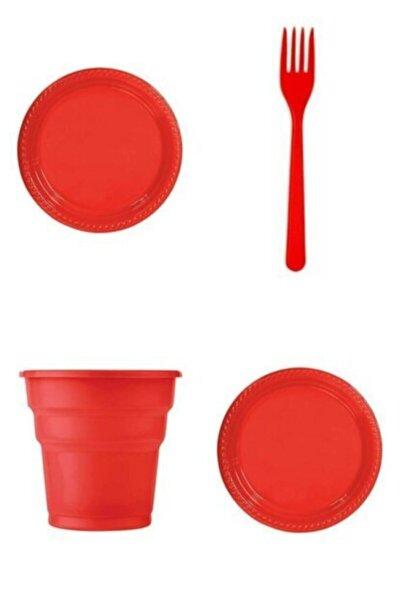 Kırmızı Plastik 25 Tabak 25 Bardak 25 Çatal Set