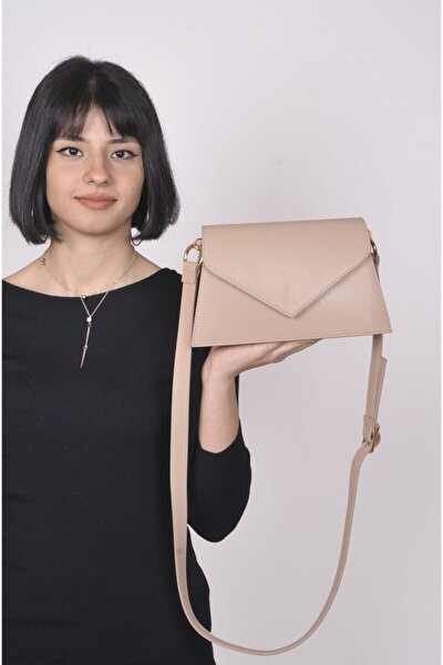 Kadın Açık Vizon Zarf Kapaklı Mini Omuz Çantası
