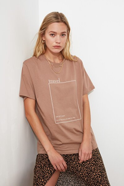 Vizon Baskılı Boyfriend Örme T-Shirt TWOSS20TS0755