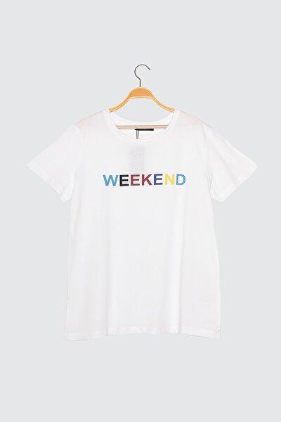 Beyaz Baskılı Basic Örme T-Shirt TWOSS21TS0313