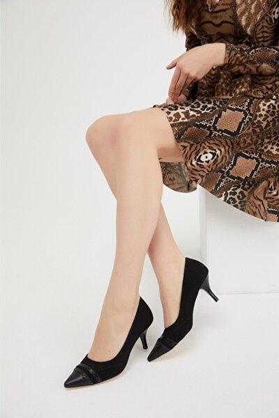 Siyah Süet Topuklu Ayakkabı 6 Cm