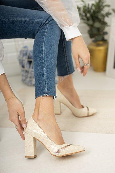 Kadın  Bej Kroko Şeffaf Detaylı Klasik Topuklu Ayakkabı