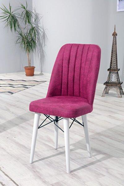 2 Adet Ahşap Ayaklı Mutfak Masası Sandalyesi Ahşap Beyaz Ayaklı Fuşya