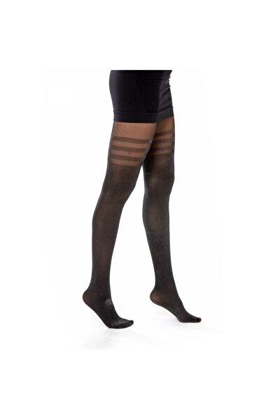 Kadın Siyah Desenli Külotlu Çorap KTTIAHYW0002