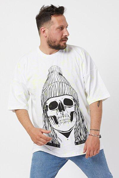 Beyaz Baskılı Boyalı Oversize T-shirt 1kxe1-44596-01