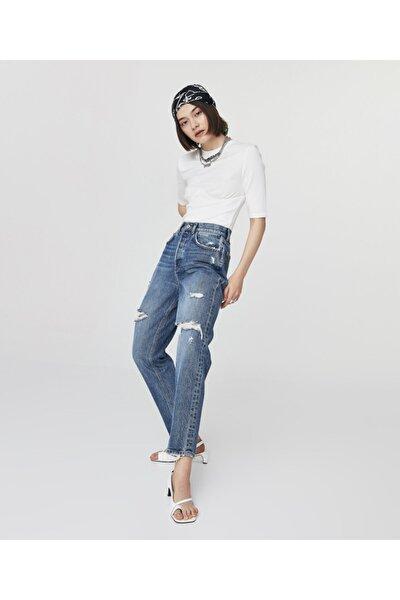 High Rise Cropped Slim Fit Jean Pantolon