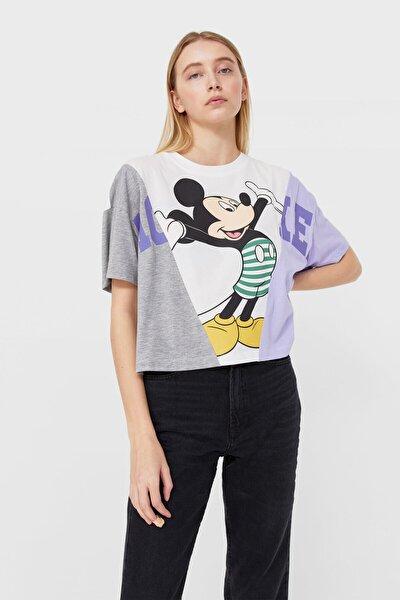 Kadın Beyaz Kontrast Mickey Baskılı T-Shirt 02513533