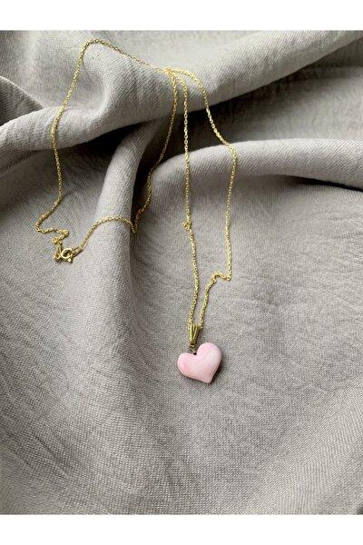 Altın Kaplama 925 Ayar Gümüş El Yapımı Cam Pembe Kalp Kolye