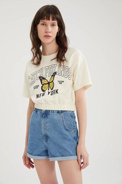 Kadın Ekru Kelebek Baskılı Beli Lastikli Crop Tişört