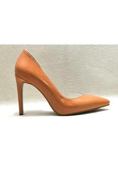 Kadın Oranj Rugan Topuklu Ayakkabı