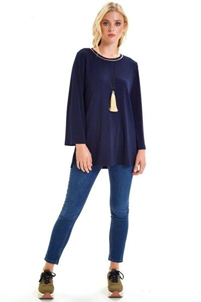 Yakası Ribanalı Eteği Yırtmaçlı Uzun Bluz 201-1013
