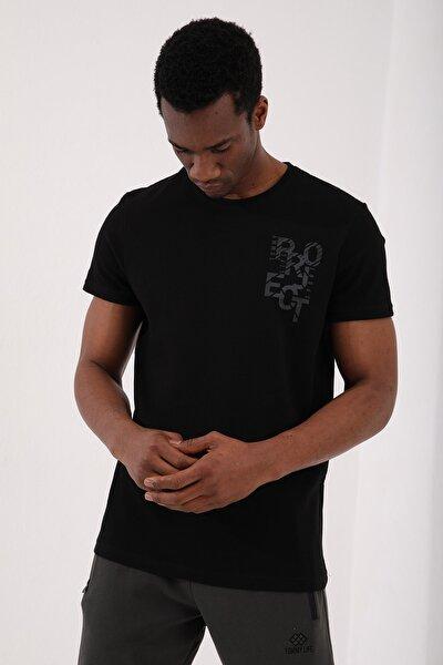 Siyah Erkek Petek Dokulu Yazı Baskılı Standart Kalıp O Yaka T-shirt - 87923