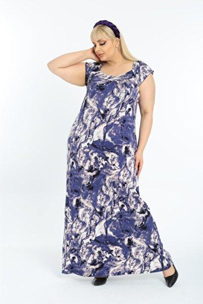 Kadın Mavi Batik Desen Sırt Dekolteli Uzun Büyük Beden Elbise