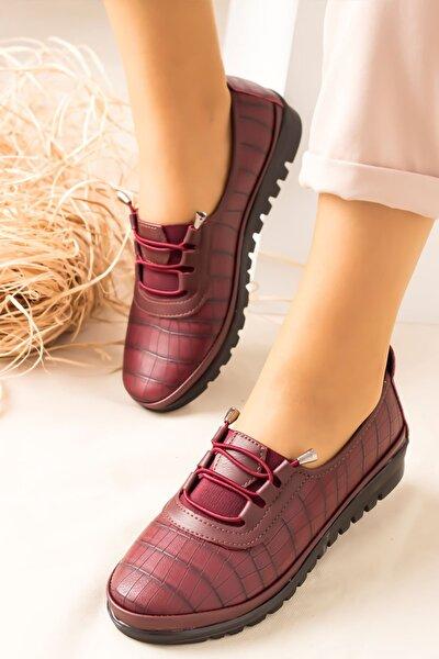 Arica Kroko Ortopedik Rahat Kadın Ayakkabı-bordo