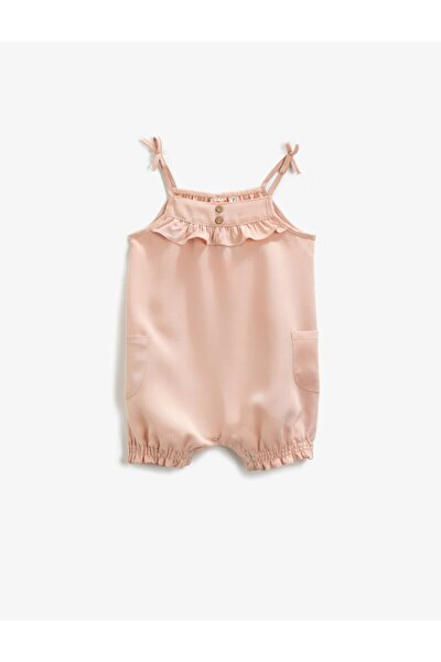 Kız Bebek Pembe Askılı Fırfırlı Tulum