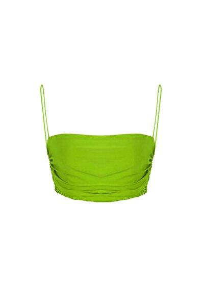 Kadın Yeşil Drapeli Askılı Crop Büstiyer