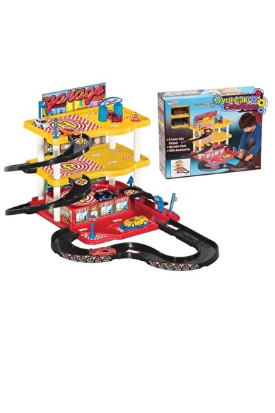 Oyuncak Otopark Garaj Oyun Seti 3 Katlı 2 Metal Araba