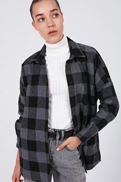 Kadın Gri Kareli Boyfriend Oduncu Gömlek P20W-3329