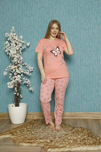 Kadın Somon Büyük Beden Kelebek Baskılı Kısa Kollu Pijama Takımı