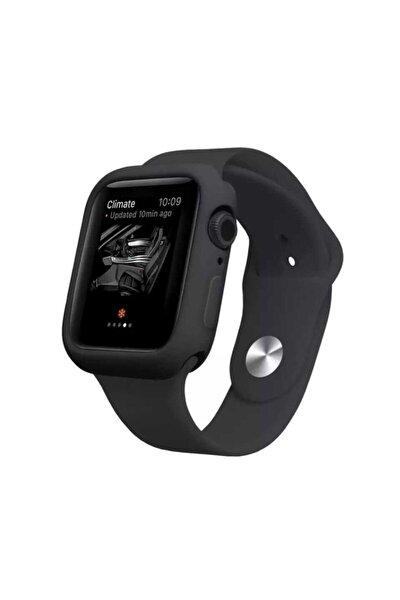 Apple Watch Seri 2 3 4 5 6 42mm Önü Açık Tasarım Yumuşak Silikon Kılıf - Siyah