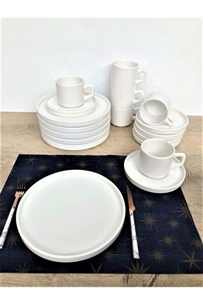 Stackable Mat Beyaz 18 Parça 6 Kişilik Kahvaltı Takımı