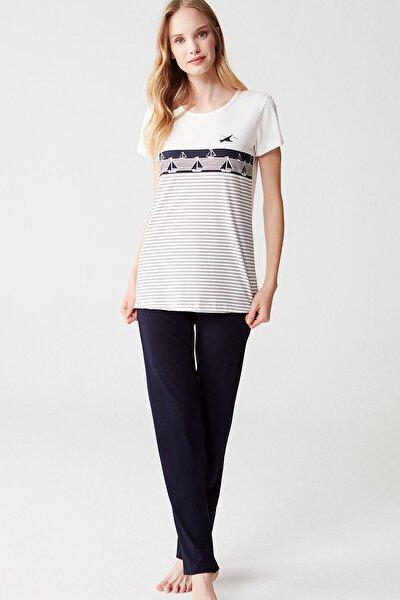 %100 Pamuklu Kadın Çizgili Kısa Kol Pijama Takım