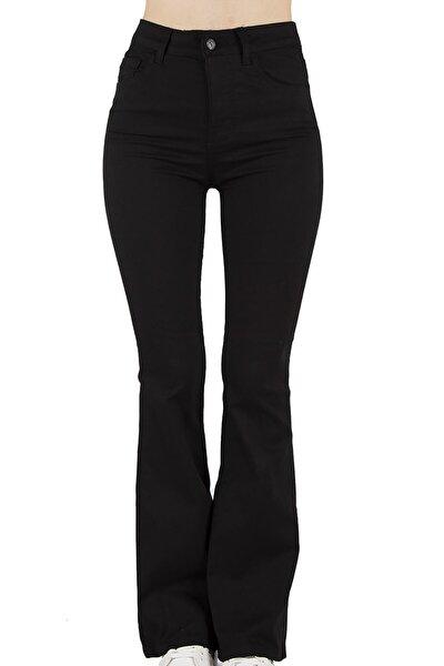 Kadın Siyah Yüksek Bel Ispanyol Paça Pantolon