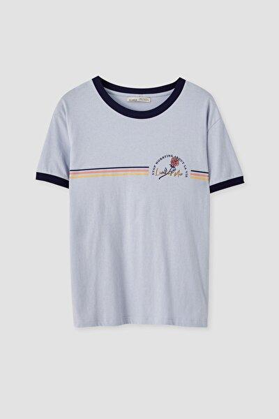Kadın Pastel Mavi Gökkuşağı Görselli Fitilli T-Shirt 05236383