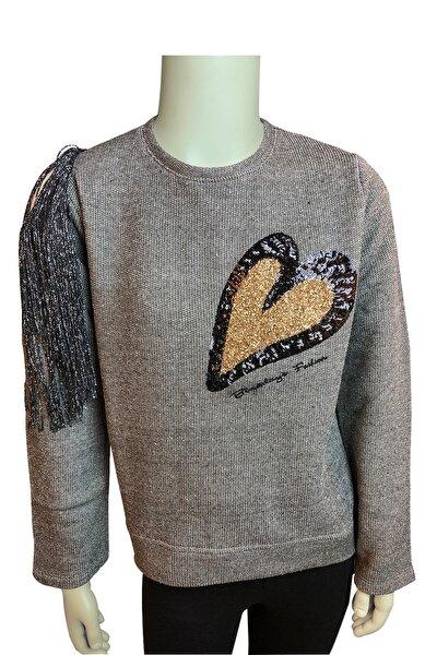 Kız Çocuk Omuz Detaylı Pulpayetli Sweatshirt