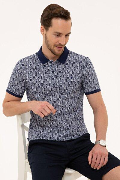 Erkek Lacivert Slim Fit Polo Yaka T-Shirt