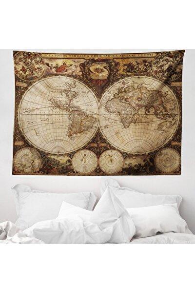 Haritalar Mikrofiber Geniş Duvar Halısı Antik Dünya Haritası