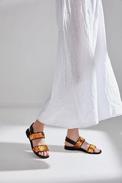 Hakiki Deri Turuncu Kadın Sandalet 01SAH145565A57M