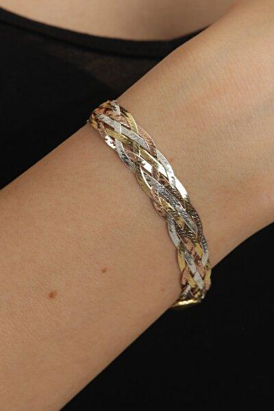 Gold Örme Gümüş Bileklik
