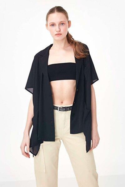 Kadın Siyah Düşük Kol Düğme Kapama Ceket TS1200005148001