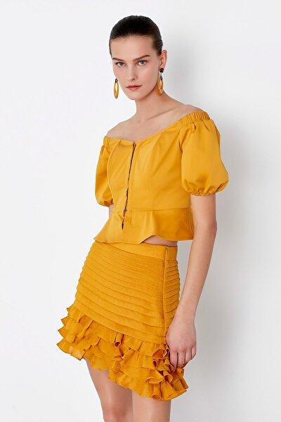 Kadın Sarı Fırfır Şeritli Etek IS1200004148024