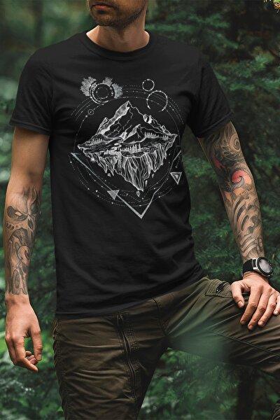 Unisex Siyah Traveler Tasarım Baskılı T-shirt