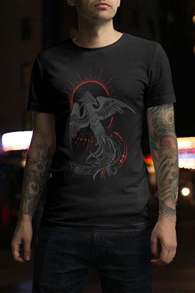 Unisex Siyah Anka Kuşu Tasarım Baskılı T-shirt