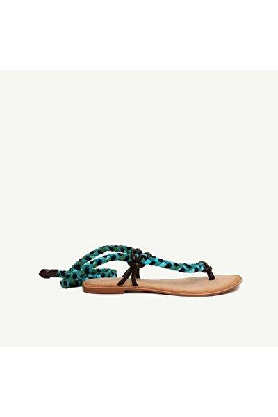 Kadın Çok Renkli Kumaş Bağlamalı Deri Sandalet 9YKAY4029X