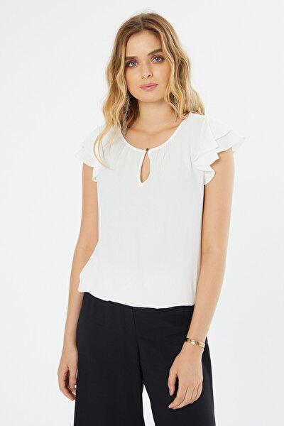 Kadın Beyaz Damla Yaka Fırfır Kollu Bluz 18Y111181330002-Beyaz